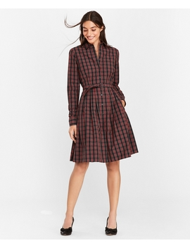 Plaid Clip Dot Cotton Shirt Dress by Brooks Brothers