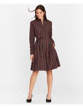 Plaid Clip Dot Cotton Shirt Dress by Brooks Brothers
