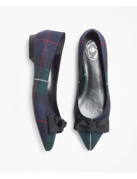 Black Watch Plaid Point Toe Flats by Brooks Brothers
