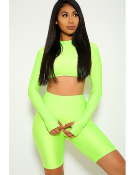 Sexy Neon Lime Two Piece Long Sleeves Crop Top Biker Shorts Outfit by Ami Clubwear
