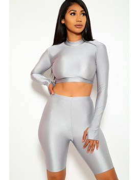 Sexy Grey Two Piece Long Sleeves Crop Top Biker Shorts Outfit by Ami Clubwear