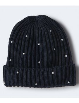 Faux Pearl Ribbed Beanie by Aeropostale