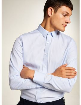 Premium Light Blue Herringbone Long Sleveve Shirt by Topman