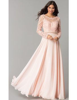 Long Embroidered Bateau Neck Prom Dress With Sleeves by Promgirl