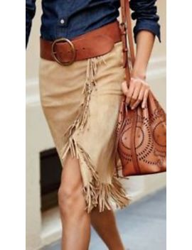 Polo Ralph Lauren Women Bohemian Southwestern Fringed Leather Suede Wrap Skirts by Polo Ralph Lauren