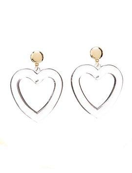 Pvc Heart Shaped Hoop Earrings by Charlotte Russe