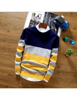 Men's Sweater Korean Version Of The Round Neck Striped Sweater Tide Autumn And Winter Youth Slim Sweater by Gamiss
