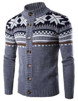 Geometric Snowflake Pattern Christmas Knitted Cardigan by Gamiss