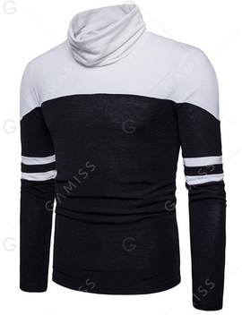 Cowl Neck Color Block Varsity Stripe Sweater by Gamiss