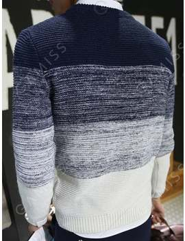Trendy Slimming Round Neck Ombre Broad Stripe Long Sleeve Polyester Pullover Sweater For Men by Gamiss