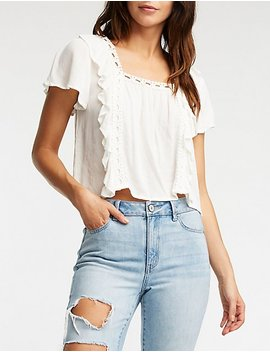 Square Neck Crochet Blouse by Charlotte Russe