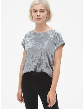 Velvet Roll Sleeve Top by Gap