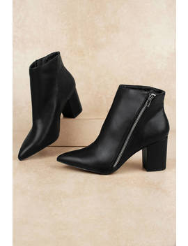 Chandra Black Pointed Toe Ankle Boots by Tobi