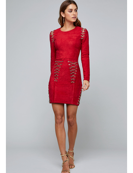 Chain Lace Up Dress by Bebe