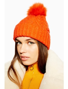 Cable Knit Beanie With Faux Fur Pom by Topshop