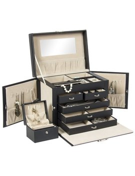 best-choice-products-leather-jewelry-box-organizer-storage-with-mini-travel-case-(black) by best-choice-products