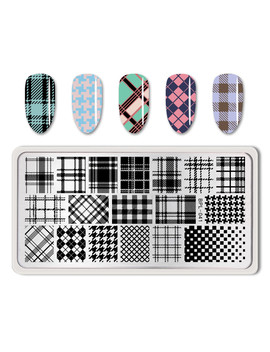 born-pretty-rectangle-nail-art-stamp-template-checked-design-nail-plate-image-plate-art-bp-l041 by born-pretty