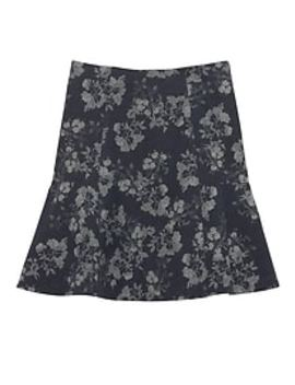 Floral Print Wool Blend Fit And Flare Skirt by Banana Republic Factory