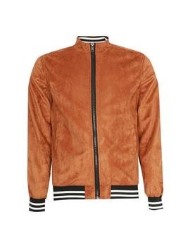 Tan Faux Suede Bomber Jacket by Boohoo