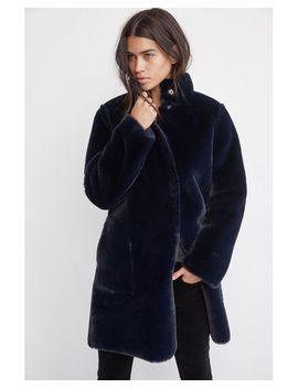 Velvet Mina Navy Faux Fur Coat by Velvet By Graham & Spencer