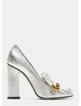 Gg High Heel Fringed Marmont Pumps In Silver by Gucci