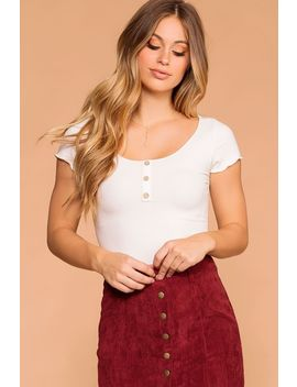 Clear As Day White Button Crop Top by Priceless