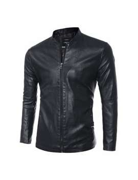 "<P>Simple Stand Collar Zip Up Pu Leather Jacket</P><I Class=""Icon Down Js Tap Up Down""></I> by Dress Lily"
