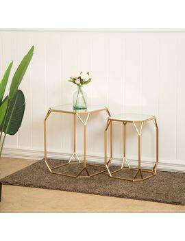 Deluxe Gold Metal &Amp; Glass Accent Table Set by Pier1 Imports