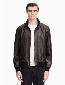 Faux Leather Zip Bomber Jacket by Calvin Klein