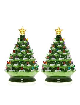 Winter Lane Set Of 2 Lighted Musical Ceramic Christmas Trees by Winter Lane