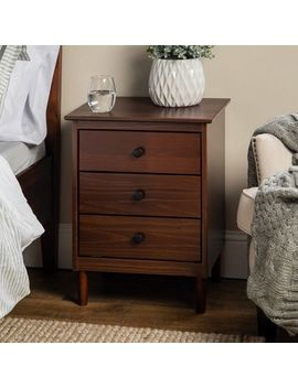 Traditional Walnut Solid Wood 3 Drawer Nightstand by Pier1 Imports