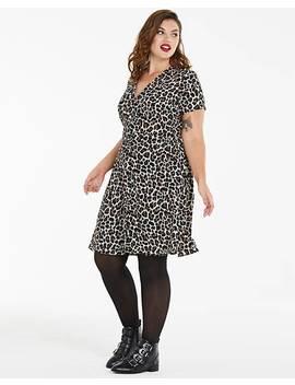 Leopard Print Button Front Tea Dress by Fashion World