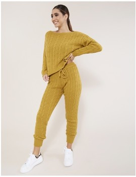 Mustard Cable Knit Co Ord by Public Desire