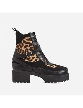 Chase Chunky Sole Leopard Print Detail Ankle Biker Boot In Black Faux Suede by Ego
