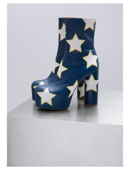 Women's Blue Platform Boots With Stars by Vetements