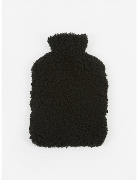 Sheepskin Hot Water Bottle   Black by Natures Collection