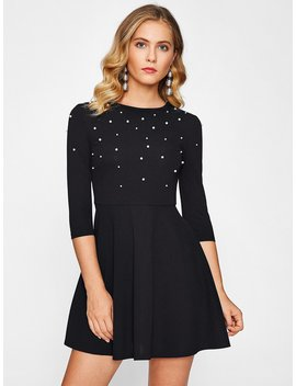 Pearl Embellished Fit &Amp; Flare Dress by Romwe
