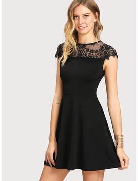 Lace Yoke Fit &Amp; Flare Dress by Romwe