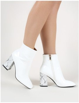 Vesper Contrast Heeled Ankle Boots In White by Public Desire