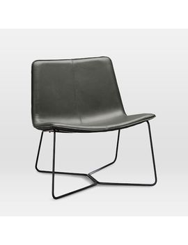 Slope Leather Lounge Chair, Aspen Leather, Fog, Charcoal by West Elm