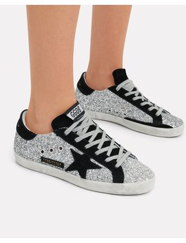 Superstar Suede Star Glitter Low Top Sneakers by Golden Goose