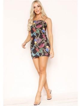 Lucinda Black Multi Chain Scarf Print Dress by Missy Empire
