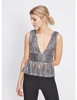 Sequin Plunge Peplum Top by Miss Selfridge