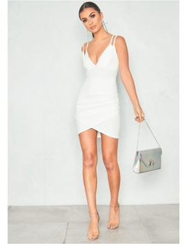 Esther White Double Strap Wrap Front Mini Dress by Missy Empire