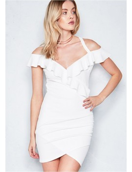 Nelly Cream Ruched Frill Bodycon Dress by Missy Empire