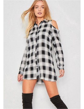 Meaghan Black And White Checked Cold Shoulder Shirt Dress by Missy Empire