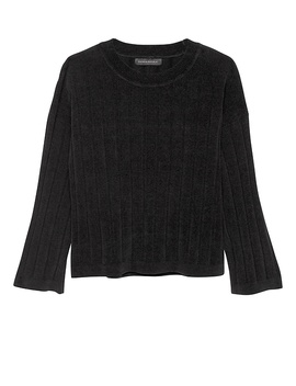 Japan Online Exclusive Ribbed Chenille Crew Neck Sweater by Banana Repbulic