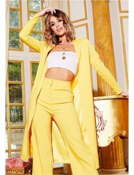Chloe Yellow Longline Duster Jacket by Missy Empire