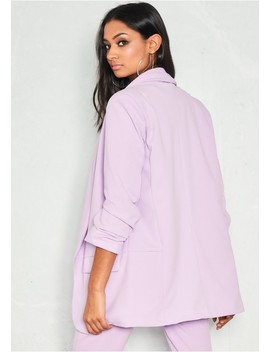 Jessica Lilac Ruched Sleeve Longline Blazer by Missy Empire