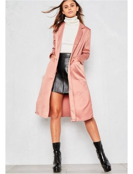 Raven Pink Satin Long Line Duster Jacket by Missy Empire